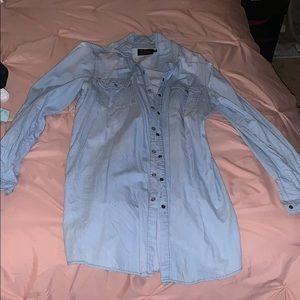 Tops - Denim button down tunic shirt